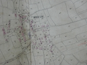 Plan cadastral 1828, section AD : le bourg (Doc. A.D. Morbihan, 3P)