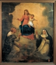 Tableau d'autel : Don du Rosaire à saint Dominique et à sainte Catherine