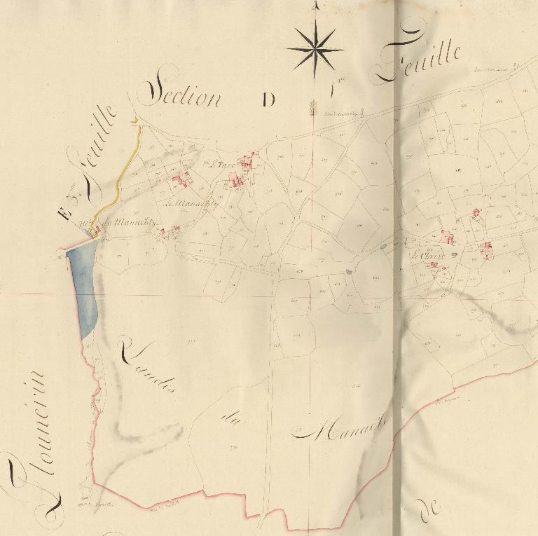 Extrait du cadastre ancien de la commune de Plufur, 1816 : Section D du Manach'Ty, seconde feuille