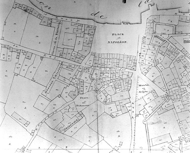 Plan cadastral 1809. Section I3, partie médiane : place Napoléon, haut de la rue Thiers, faubourg Saint-Salomon. AM Vannes 21Fi.