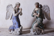 Ensemble de 2 statues (en pendant) : Anges adorateurs
